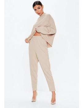 Sand High Waisted Tapered Leg Joggers by Missguided