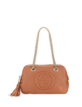 Soho Leather Double Chain Strap Shoulder Bag by Neiman Marcus
