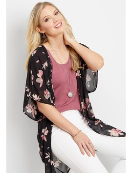 Distressed Dark Magnolia Kimono by Maurices
