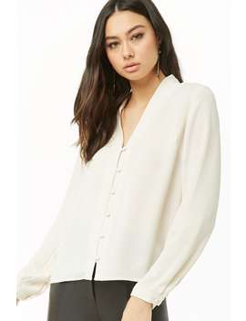 V Neck Button Loop Top by Forever 21