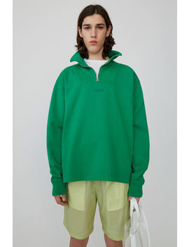 Zippered Polo Sweatshirt Emerald Green by Acne Studios