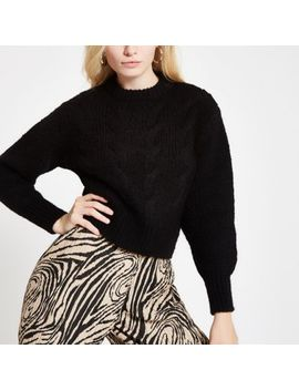 Black Cable Knit Crew Neck Jumper by River Island