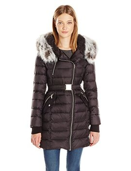 French Connection Women's Down Coat With Belt And Sherpa Lined Faux Fur Hood by French Connection