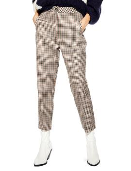 Bonded Check Tapered Trousers by Topshop