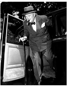 "Globe Photos Art Prints Winston Churchill With A Car   8"" X 10"" Pop Culture Art Photographic Full Bleed Print   Premium Paper   50's Retro by Globe Photos Art Prints"