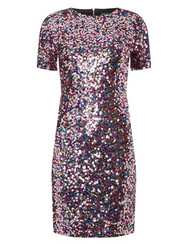 **Tall Barbie Pink Sequin Shift Dress by Dorothy Perkins