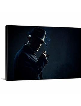 "Greatbigcanvas Gallery Wrapped Canvas Entitled Man With Cigar In Dark Background By 18""X12"" by Greatbigcanvas"