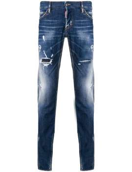 Gerafelde Slim Fit Jeans by Dsquared2