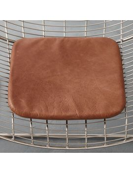 Brown Leather Chair Cushion by Crate&Barrel