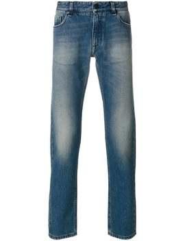 Stentvättade Broderade Jeans by Fendi