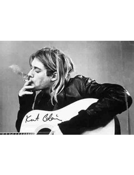 Kurt Cobain (Smoking) With Guitar Black & White Music Poster Fabric Poster 40 X 30in by Lpgi