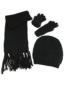 N'ice Caps Women's Beanie Scarf Gloves 3 Pc Set Sherpa Lined Popcorn Stitch by N'ice Caps