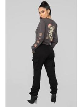 Elements Long Sleeve Top   Charcoal by Fashion Nova