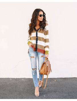 Jude Distressed Striped Knit Cardigan by Vici