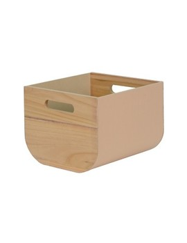 "8""X10"" Paulownia Wood With Solid Color Fabric Small Milkcrate Whipped Peach   Project 62™ by Project 62"