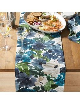 "Francesca 90"" Blue Floral Table Runner by Crate&Barrel"