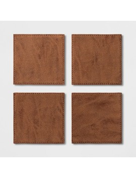 Faux Leather Coasters Brown   Project 62™ by Project 62