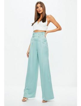 Blue Double Button Belted Wide Leg Trousers by Missguided
