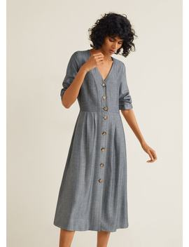 Buttons Herringbone Dress by Mango