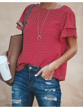 Rhythm Of The Heart Printed Blouse   Final Sale by Vici