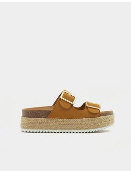 Tokalı Hasır Hardal Rengi Sandalet by Pull & Bear