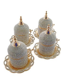 (Set Of 4) Handmade Swarovski Crystal Coated Turkish Greek Coffee Espresso Demitasse Cup Saucer Guest Serving Set With Holder And Lid by Grand Gifft