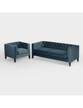 Midnight Blue Velvet Kendall Seating Collection by World Market
