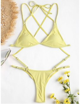 Rib String Bikini Set   Cream M by Zaful