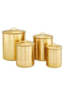Old Dutch 843 Cc 4 Piece Decor Champagne Hammered Storage Canister Set, 2, 1.5 1 Qt, Satin by Old Dutch