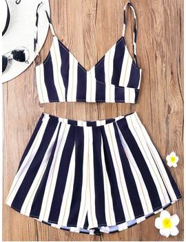 Striped Camisole With Wide Leg Shorts   Blue Stripe Xl by Zaful