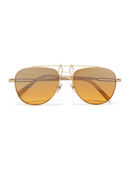 Aviator Style Gold Tone And Acetate Mirrored Sunglasses by Calvin Klein 205 W39 Nyc