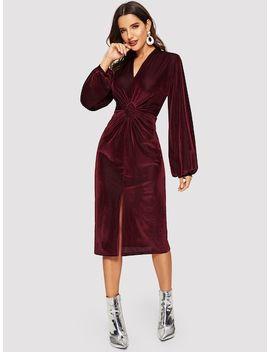Lateran Sleeve Twist Front Slit Hem Velvet Dress by Shein