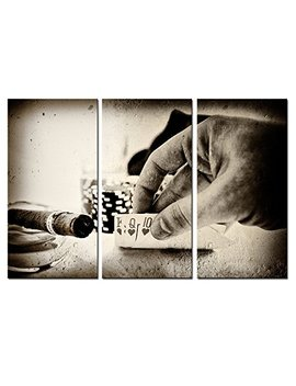Vintage Conceptual Poker Hand Picture Canvas Art,Retro Photos Cigar Canvas Prints For Club Wall Decor,3 Pieces Stretched Wall Painting For Wall by Sea Charm