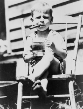"1935 Title: The World's ""Toughest"" 3 Year Old. Three And A Half Year Old Gilbert Askew Sits In Chair Holding Mug Of Beer While Smoking A Cigar. Vintage 8x10 Photograph   Ready To Frame by Historic Photos"