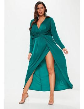 Plus Size Teal Wrap Knot Front Maxi Dress by Missguided