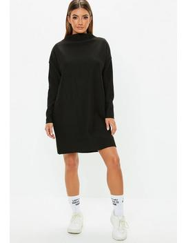 Petite Black Oversized Ribbed Sweater Dress by Missguided