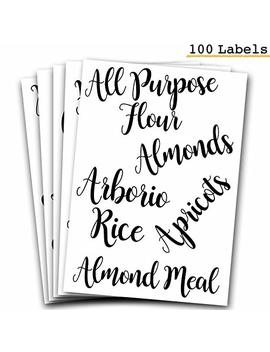 Decorative Pantry, Kitchen Labels For Food And Ingredients   Adorable Organizer Stickers, Clear, Cursive Style   Mason Jar, Canister, Container Itemized Labels For Flour, Sugar, Grains, Pasta And More by 7 Ruby Road