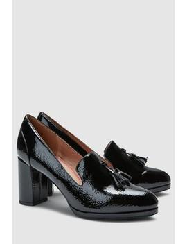 Black Patent Tassel Platform Loafers by Next