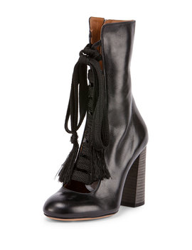 Leather Lace Up Boot, Black by Neiman Marcus