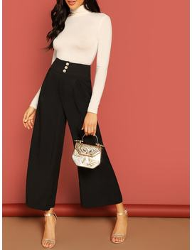 Button Fly High Waist Wide Leg Pants by Shein