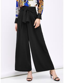 Tie Waist Solid Wide Leg Pants by Shein