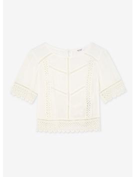 Petite Cream Lace Trim Top by Miss Selfridge
