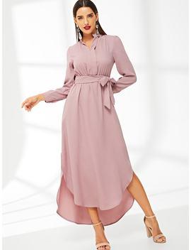 Tie Waist Split Side Shirt Dress by Shein
