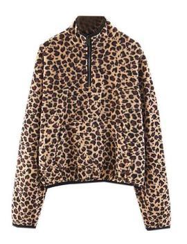 'bristol' Leopard Print Half Zip Fleece Pullover by Goodnight Macaroon