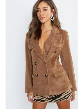 Cord Double Breasted Blazer Coat by Boohoo