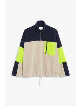 Colour Block Fleece Sweater by Monki