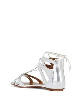 Beverly Hills Metallic Leather Ankle Tie Sandals by Aquazzura