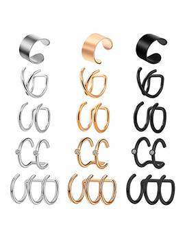 Briana Williams 10 15pcs Stainless Steel Ear Cuff Helix Cartilage Clip On Wrap Earrings Fake Nose Ring Non Piercing Adjustable Men Women by Briana Williams