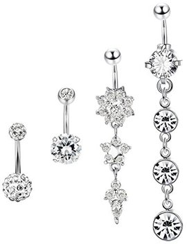 Jstyle 4 Pcs Stainless Steel Dangle Belly Button Rings Navel For Women Curved Barbell Piercing 14 G Cz Piercing Set by Jstyle