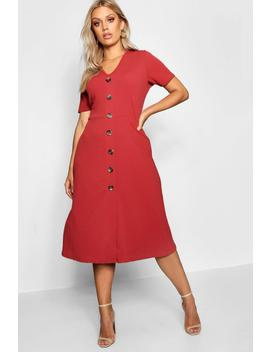 Plus Button Front Midi Dress by Boohoo